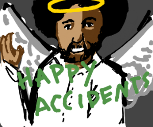 Bob ross as an angel saying his famous quote