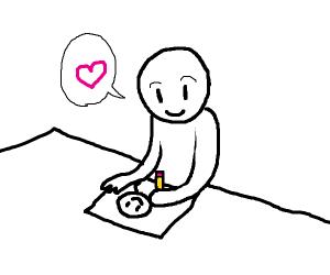 Man likes drawing