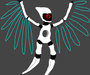 Futuristic Robot with electric wings
