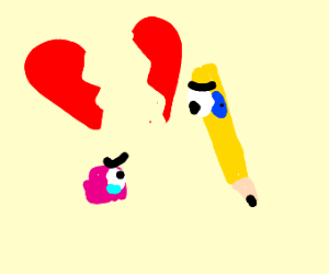 Sad goodbye between eraser and pencil