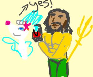 Aquaman does a proposal to Primarina!