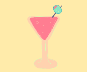 Pink martini with green olive