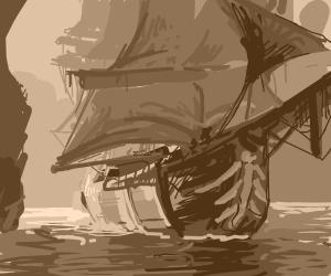 pirate boat in grape juice