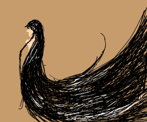 Long, black hair