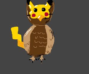 Owl cosplaying as pikachu