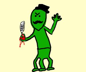three legged green man holds heart of enemy