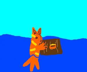 garfield lost at sea eating lasagna off raft