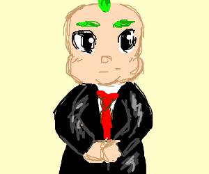 Boss baby with singular strand of green hair