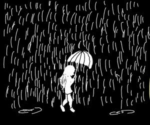 Walking in the rain with an umbrella