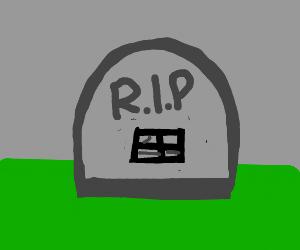 """RIP Black Window"" on gravestone."