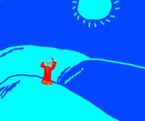 Wizard w/wand in blue landscape