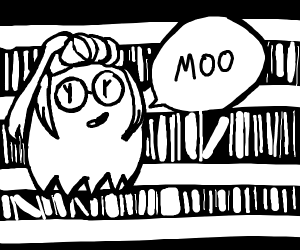 Smitten li'l ghost librarian says moo