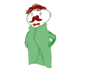 the pringles man but in a trenchcoat