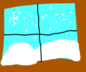 A window shows a frosty land