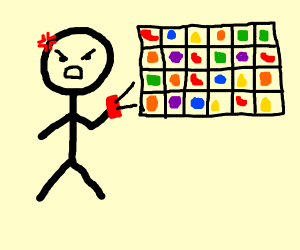 Man being frustrated with Candy Crush