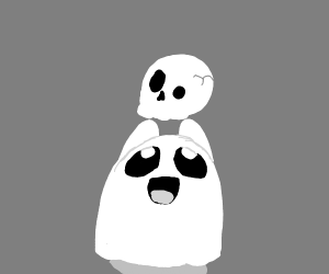 Ghost with a skull