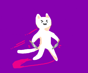 cat running with two knives