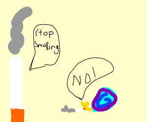 a cigarette wants a snail to quit smoking
