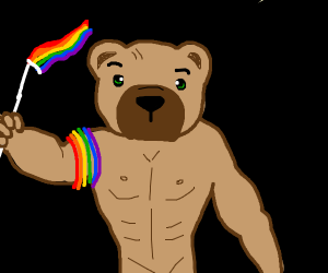 Strong gay bear is triggered