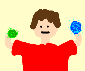 Man holding glowing colourful balls