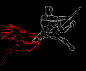 a man using a knife to slay the dragon