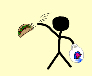 Stick Figure Throwing Taco