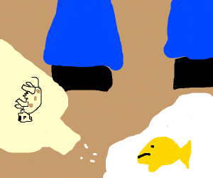 goldfish is trapped in milk puddle