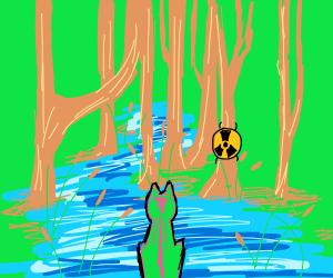 Radioactive Fox Overlooks a Lake
