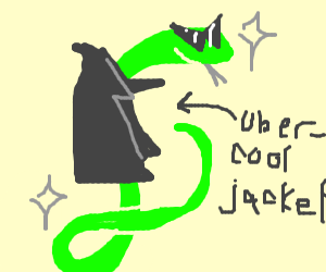 Snake thinks he's cool with jacket, but he is