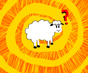 Sheep lost in a yellow void