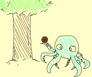 big and brown tree, a blue octopus with brown