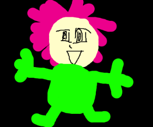Pink haird anime girl in greens