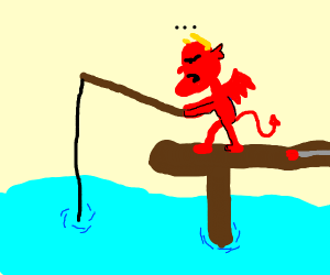 The devil fishing. Literally.