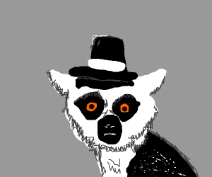 leemur with a top hat