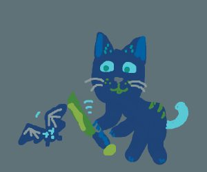Cat murders a bat, WITH a bat