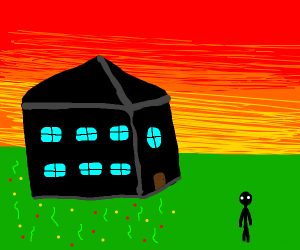 black house with nice backyard and a man