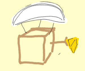 box with parachute (and cheese)