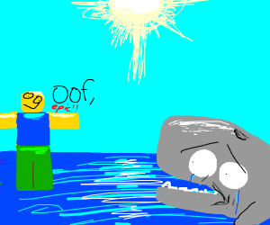 roblox walking on water and say oof to whale