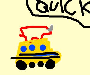 Rhynocerus driving a school bus