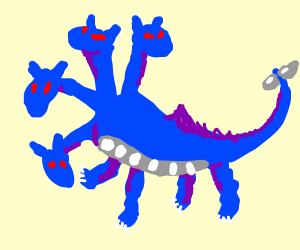 a four-headed blue dragon with red eyes