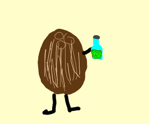 coconut holding a bubbly bottled drink