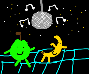 Banana and Apple disco in space