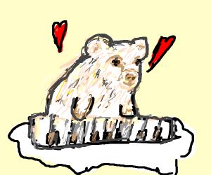 Polarbear playing the keyboard.