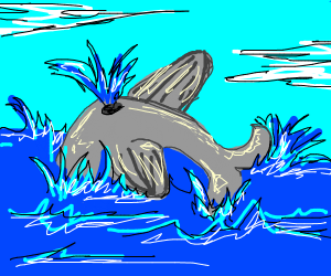 Whale splashing in the ocean