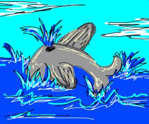 Whale splashing in the ocean