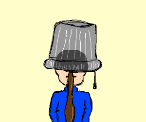 person hiding under a lamp shade
