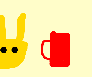 Yellow rabbit with mug of coffee on head