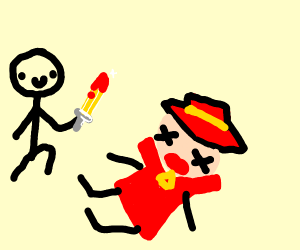 Drawn man kills Carmen San Diego with a sword