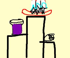 Podium of USA, grape jelly, and yarn