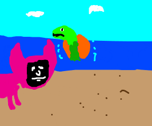 Pig with mask sees turtle in ocean